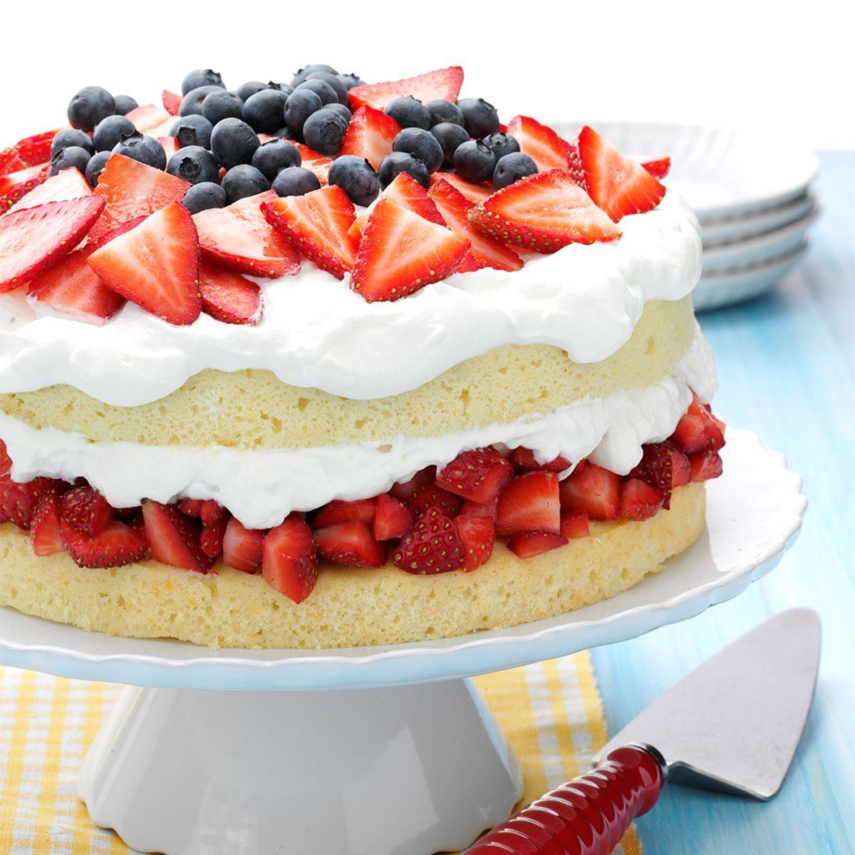 Layered Strawberry Cream Cake Recipe   Taste of Home