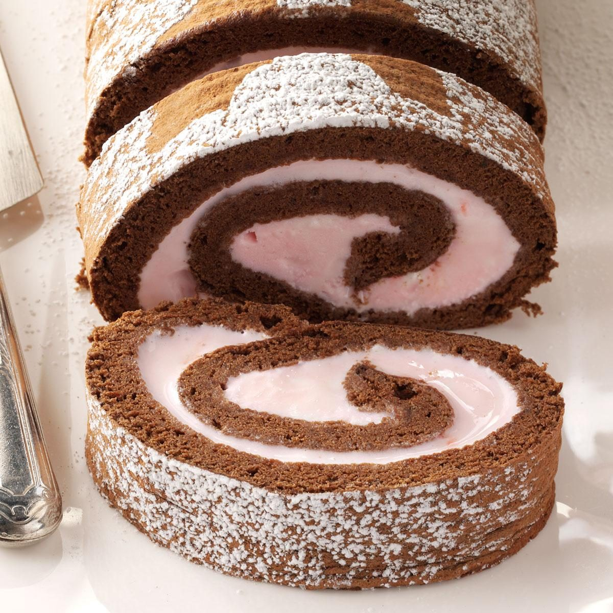 Cake Ice Cream Roll : Chocolate & Peppermint Ice Cream Roll Recipe Taste of Home