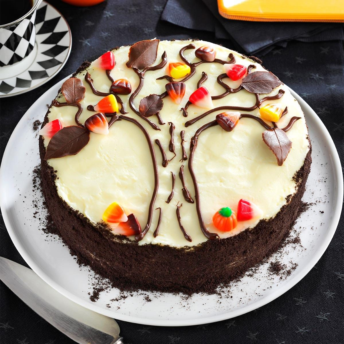 19 scary good halloween cake recipes taste of home autumn tree cake