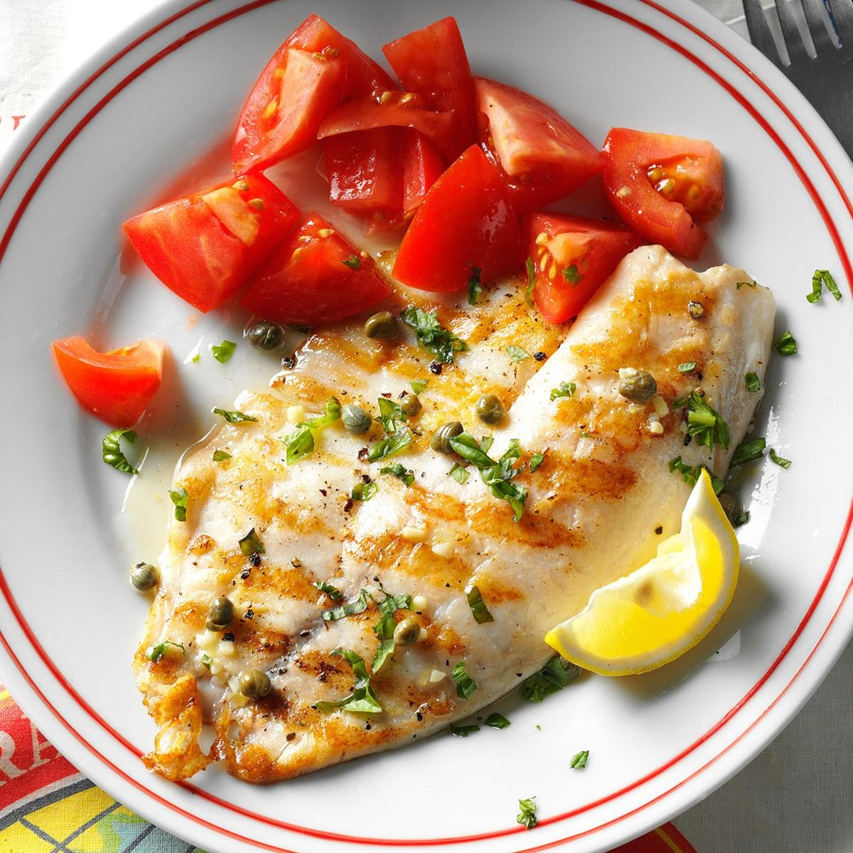 Grilled tilapia piccata recipe taste of home for Best fish to grill