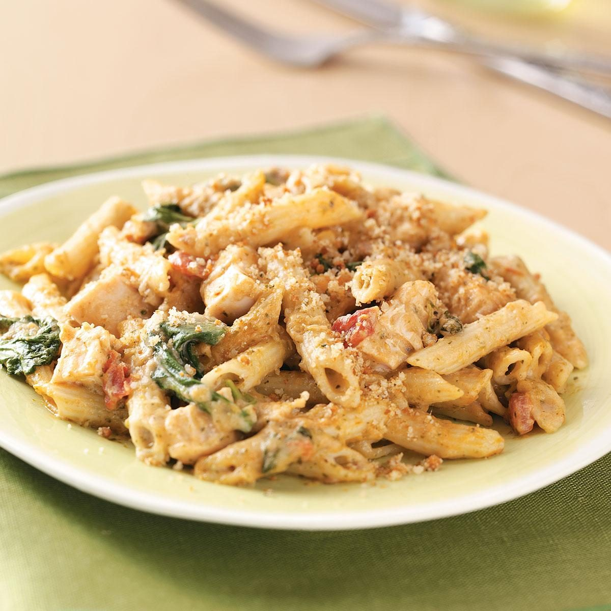 Ham Fettuccine Bake Recipe: Pesto-Chicken Penne Casseroles Recipe