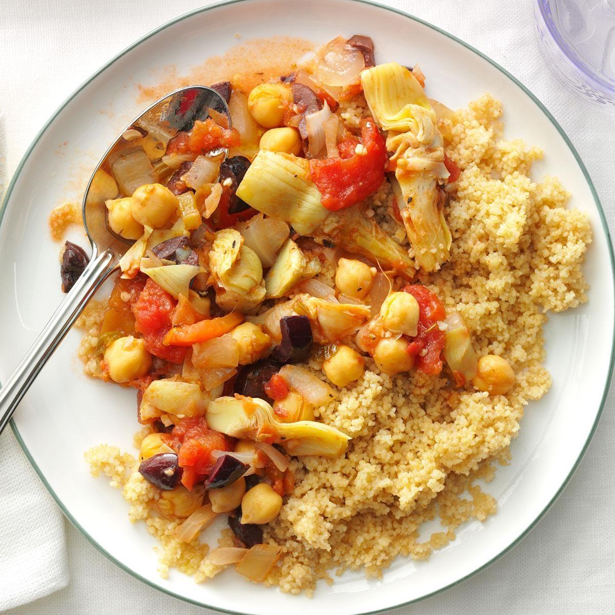 Mediterranean chickpeas recipe taste of home - Healthy greek recipes for dinner mediterranean savour ...