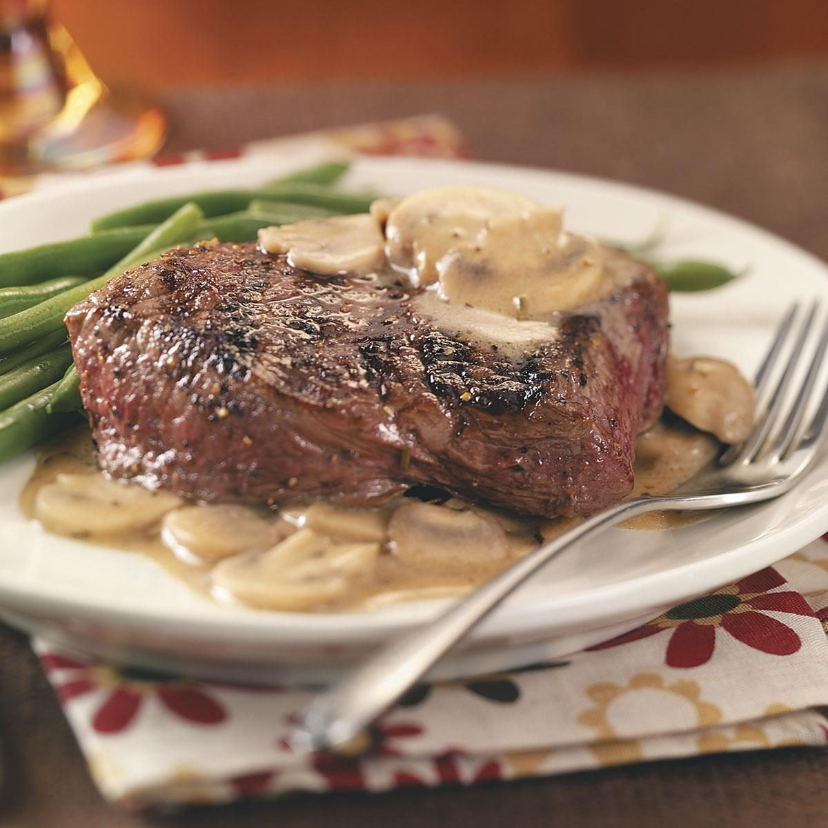Grilled steaks with mushroom sauce recipe taste of home - Steak d espadon grille sauce combava ...