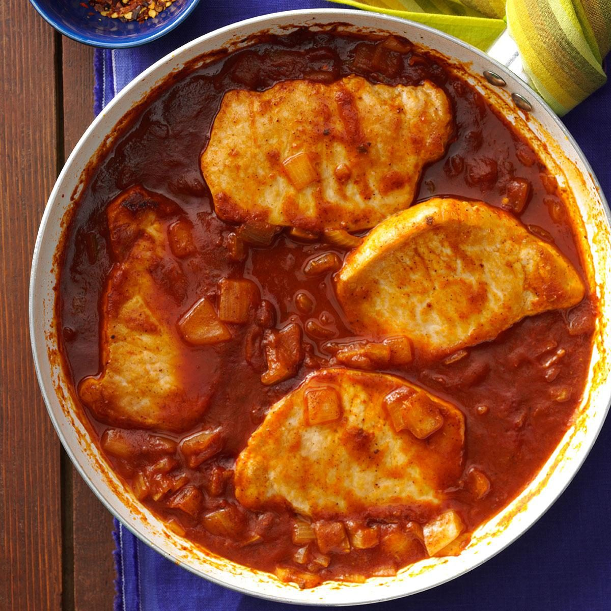 Spicy Tomato Pork Chops Recipe | Taste of Home