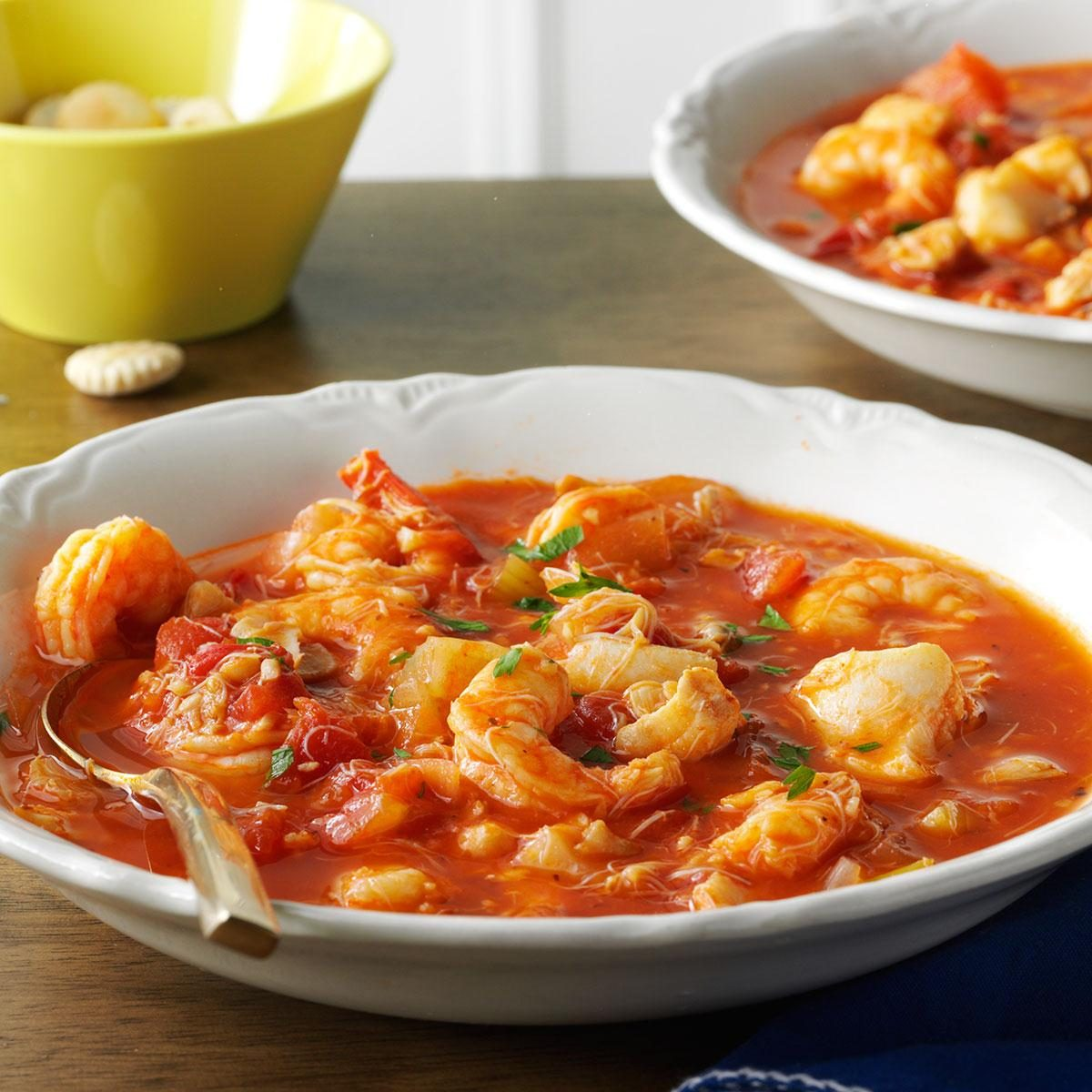 Seafood cioppino recipe taste of home for Fish dinner recipes