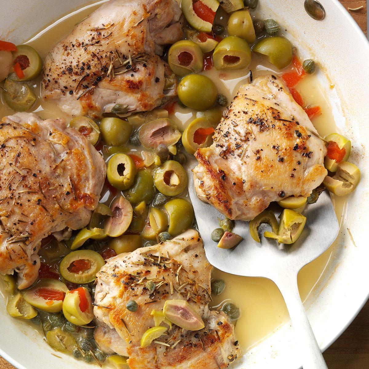 Skillet Chicken with Olives Recipe | Taste of Home