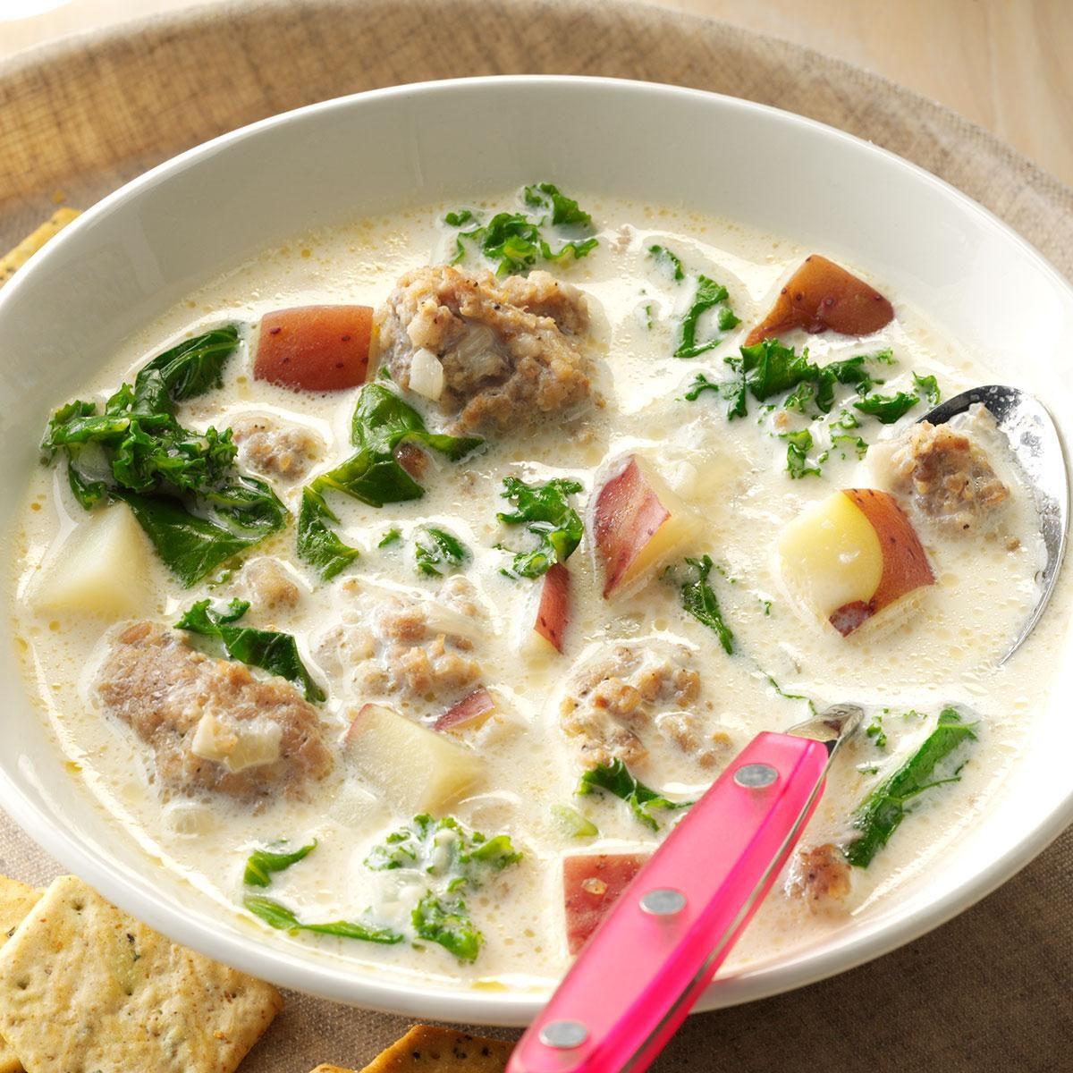 Potato Sausage Kale Soup Recipe Taste Of Home