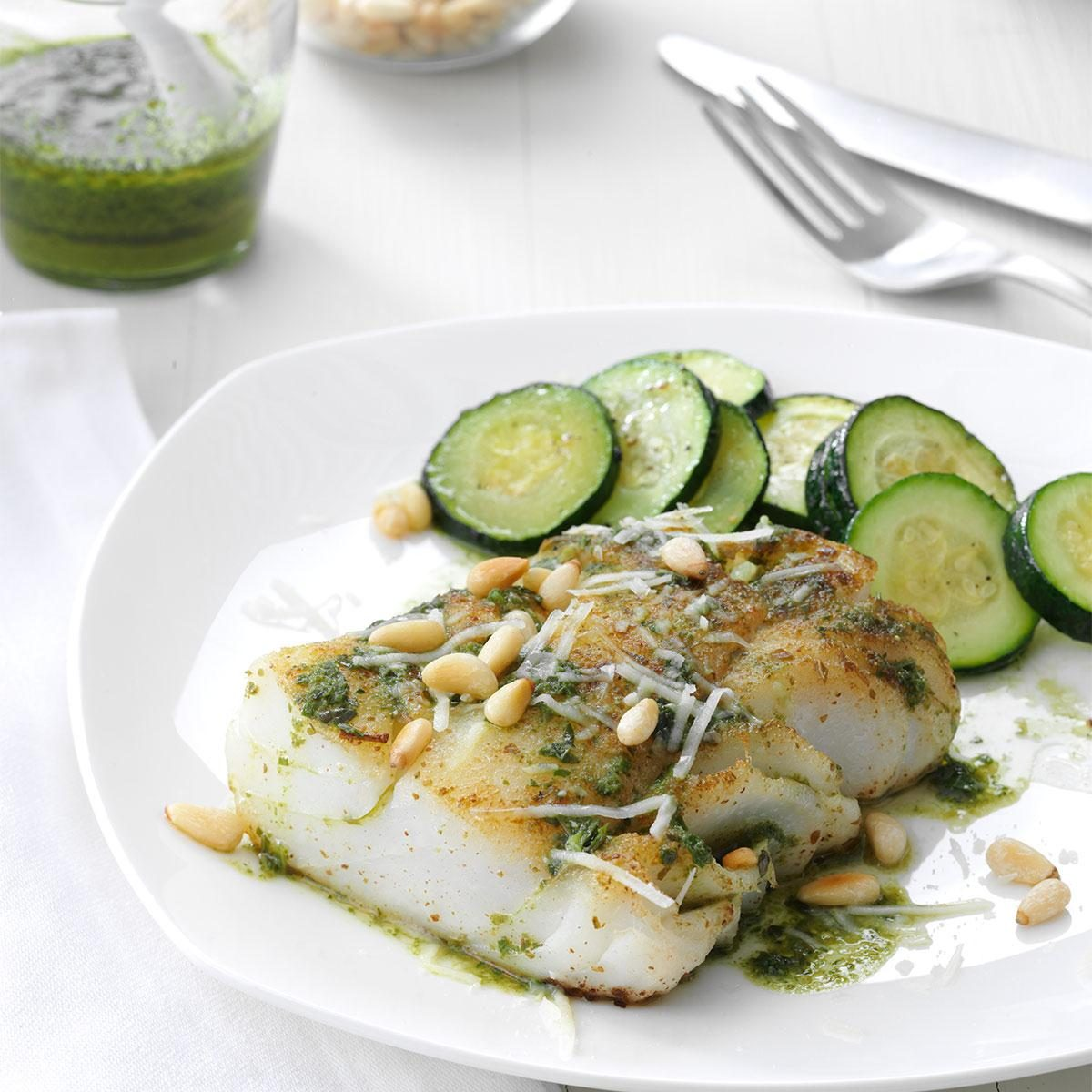 Pesto fish with pine nuts recipe taste of home for Pesto fish recipes