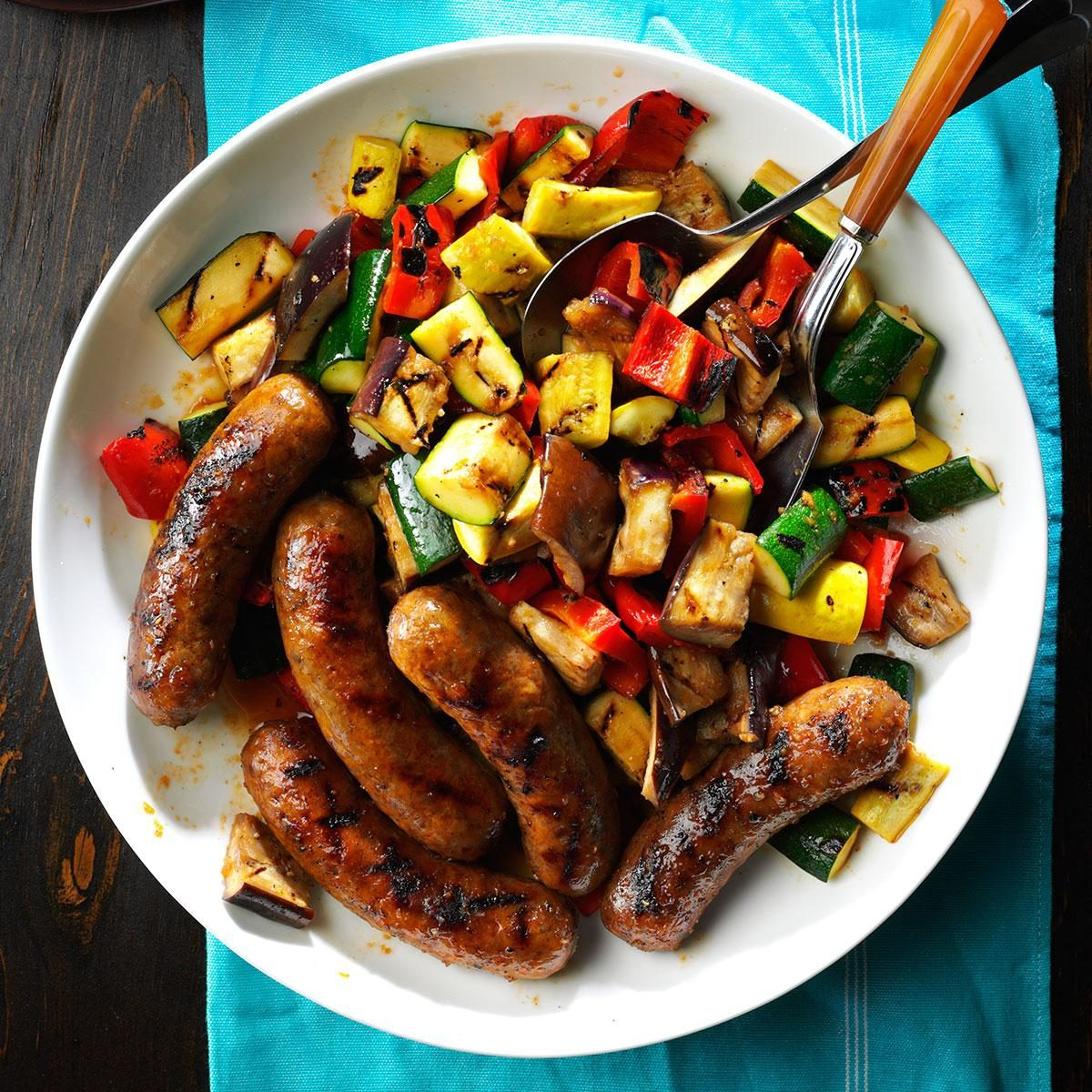 45 Easy Camping Recipes: Grilled Sausages With Summer Vegetables Recipe
