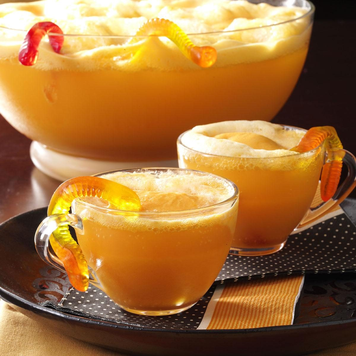 wormy orange punch recipe taste of home - Spiked Halloween Punch Recipes