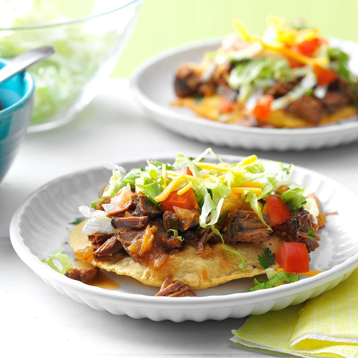 Slow Cooker Beef Tostadas Recipe   Taste of Home