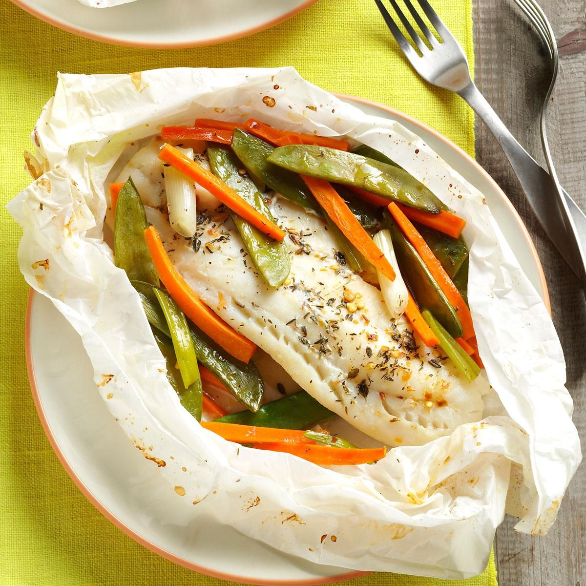Fish vegetable packets recipe taste of home for Fish and vegetable recipes