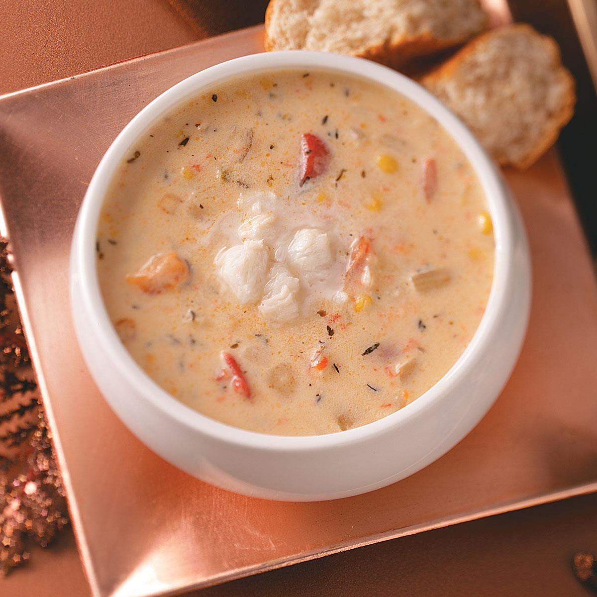 Fontina-Vegetable Crab Soup Recipe | Taste of Home