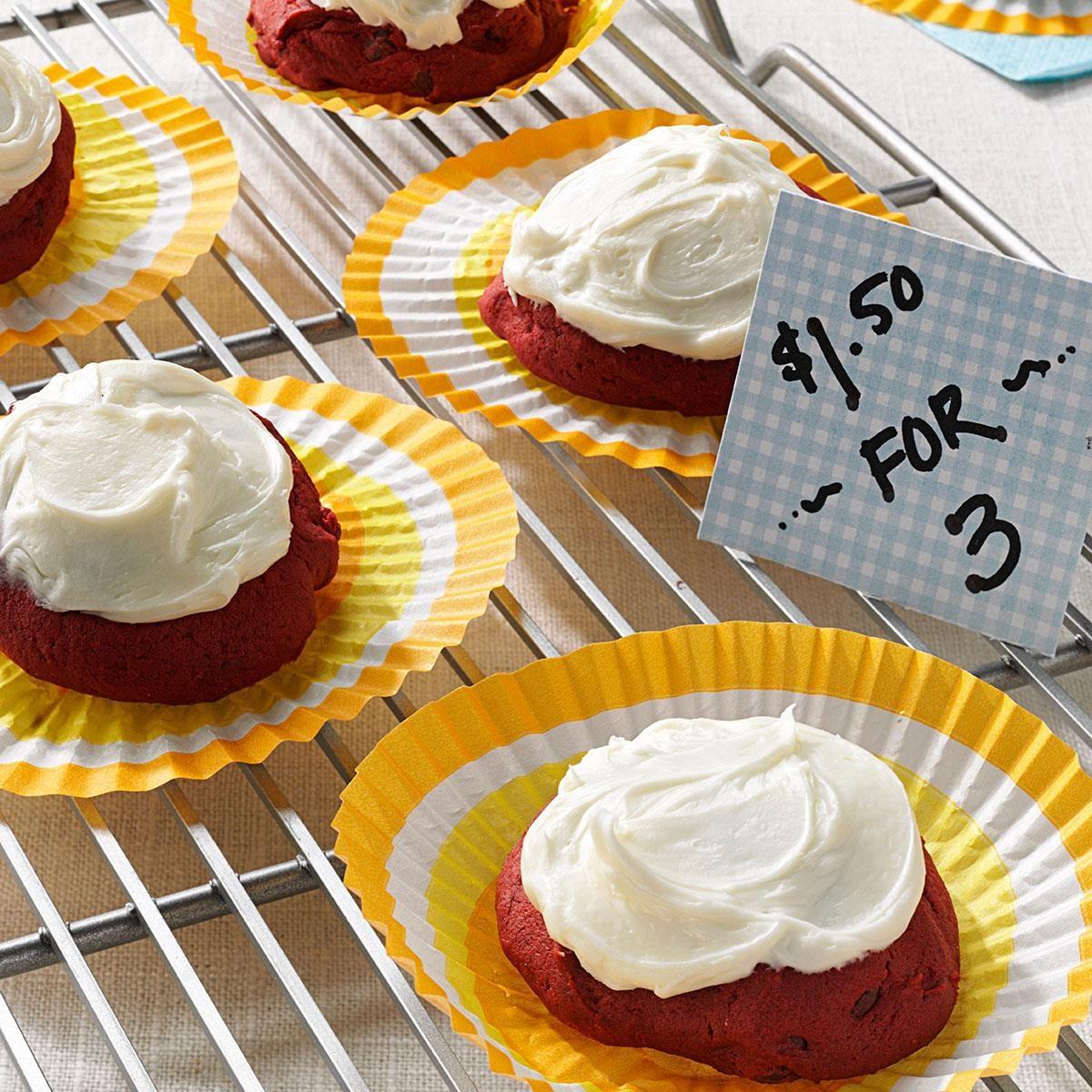 bake recipes taste of home frosted red velvet cookies