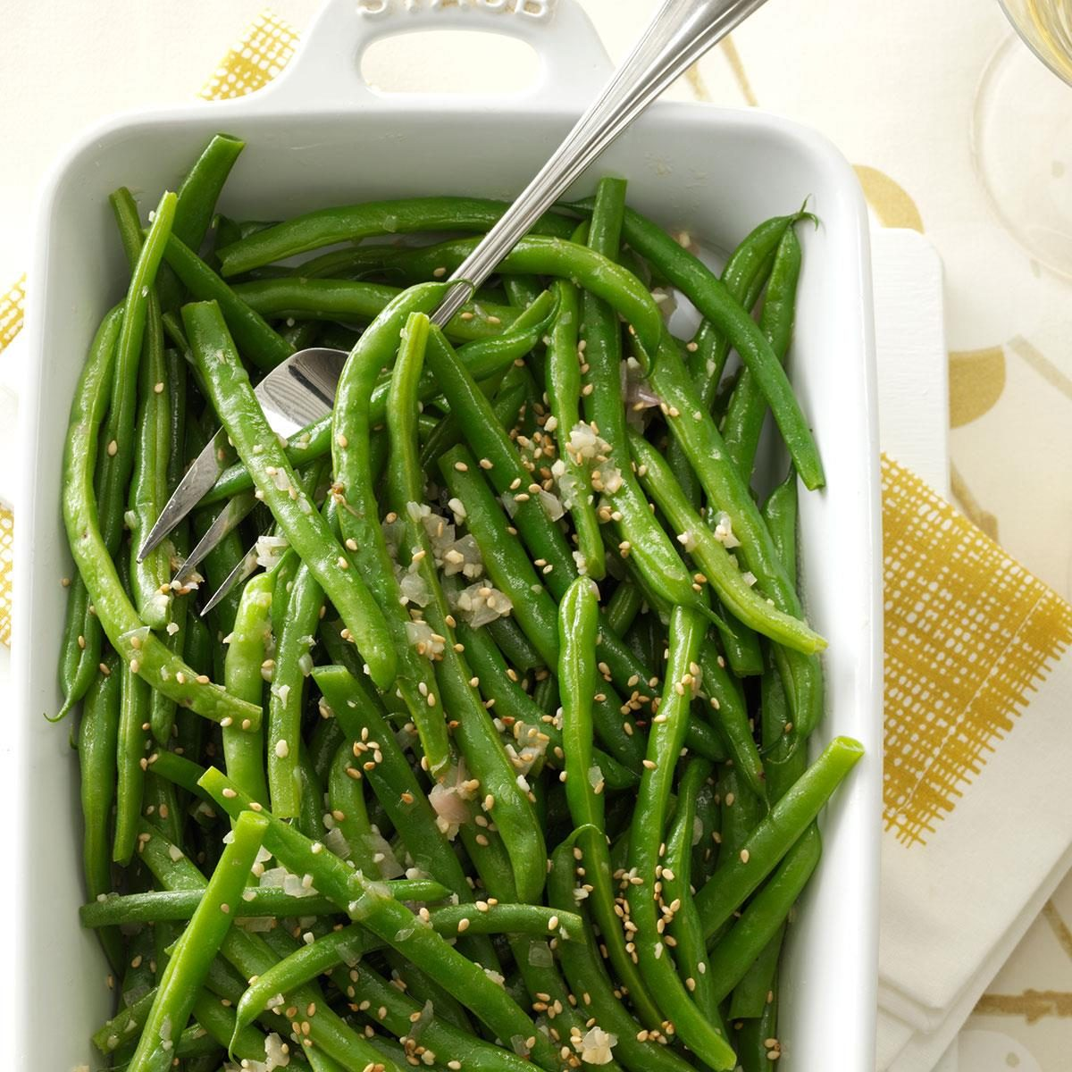 Garlic-Sesame Green Beans Recipe | Taste of Home