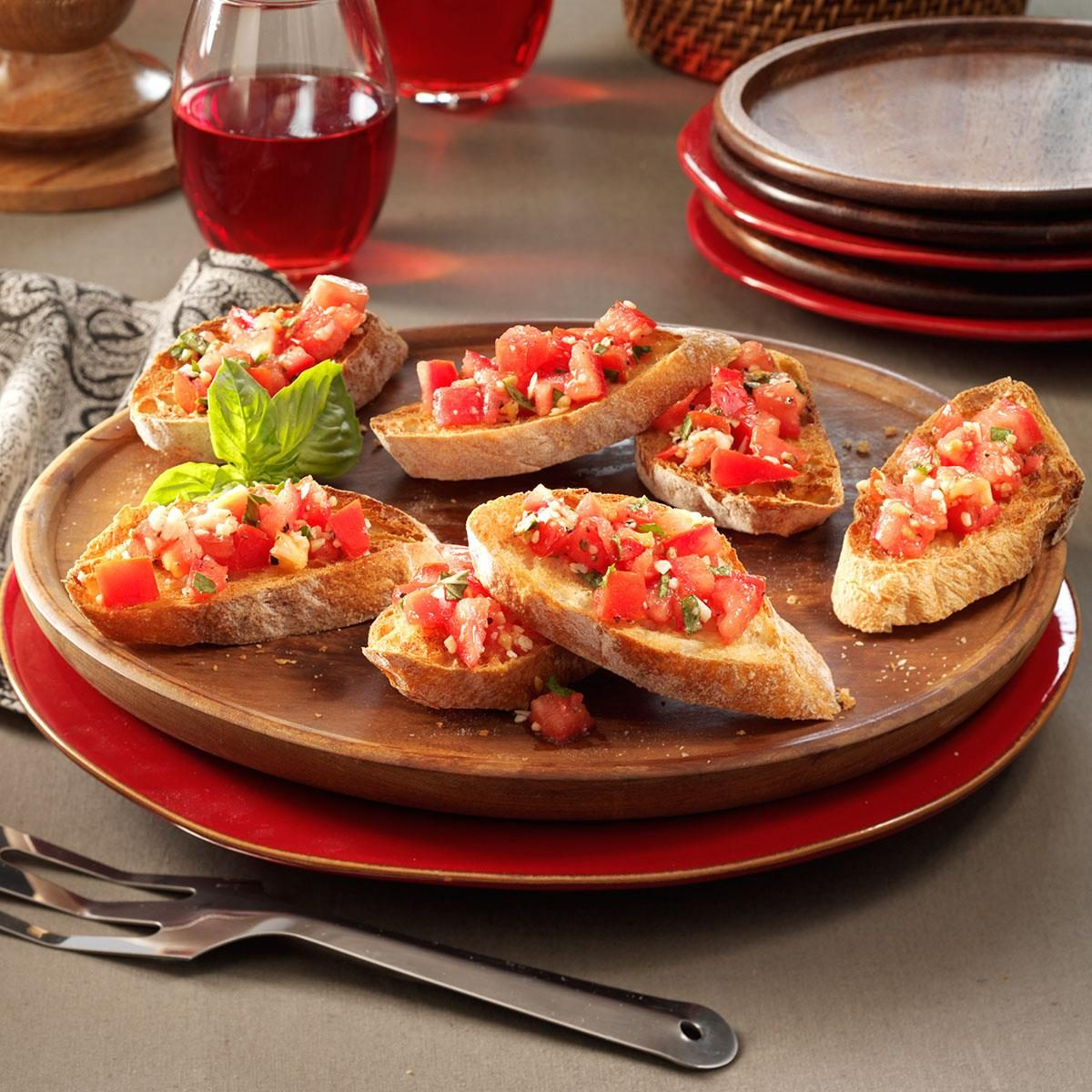 garlic tomato bruschetta recipe taste of home. Black Bedroom Furniture Sets. Home Design Ideas