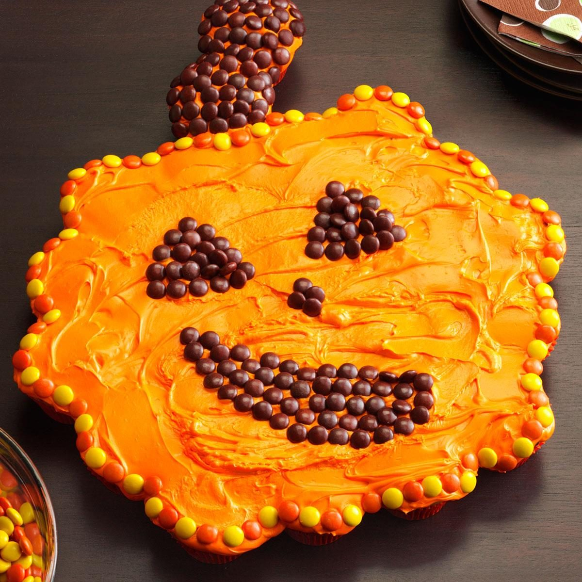 Giant cupcake pumpkin recipe taste of home for How to make halloween cupcake cakes