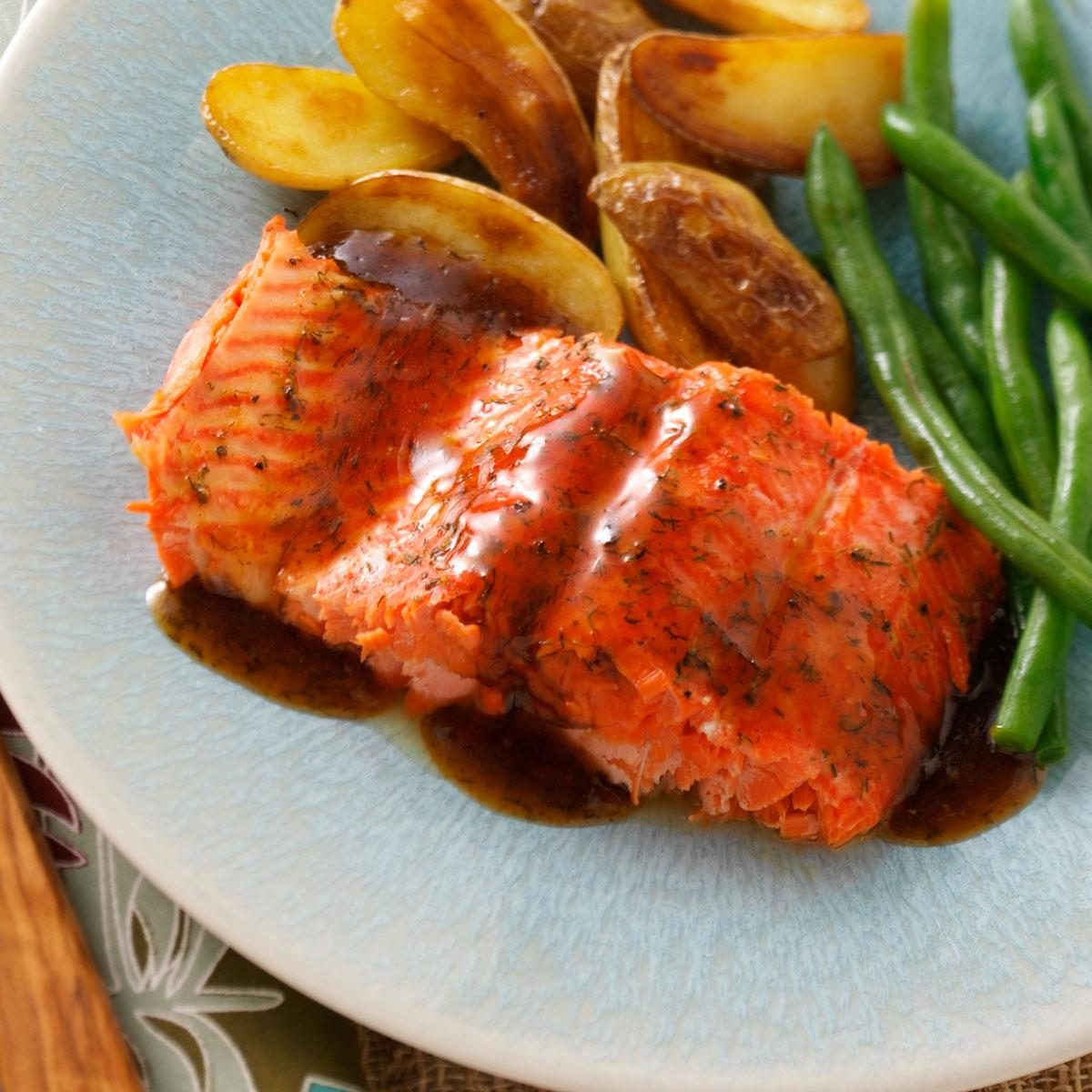 Glazed salmon fillet recipe taste of home for How to cook salmon fish