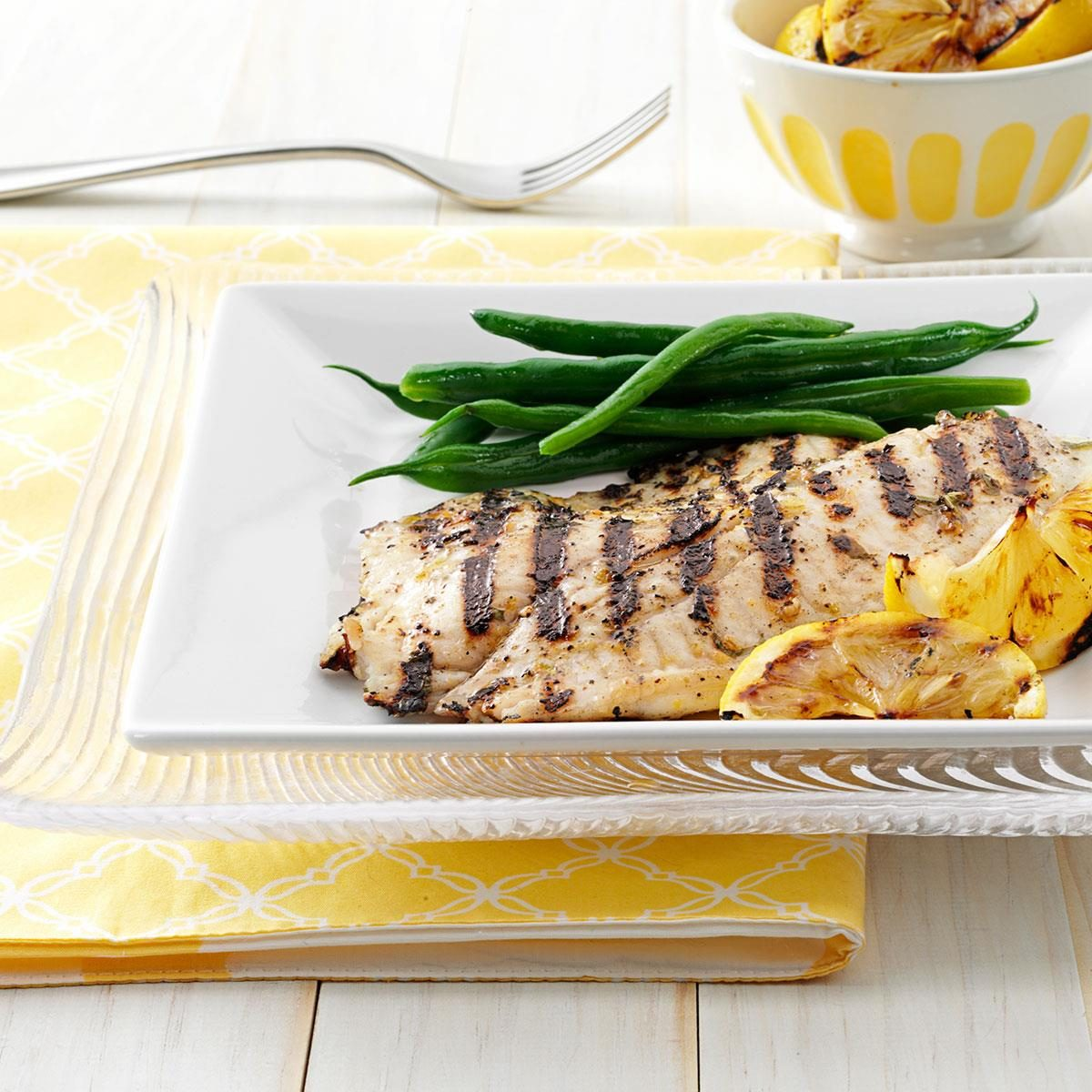 Grilled greek fish recipe taste of home for Greek fish recipes