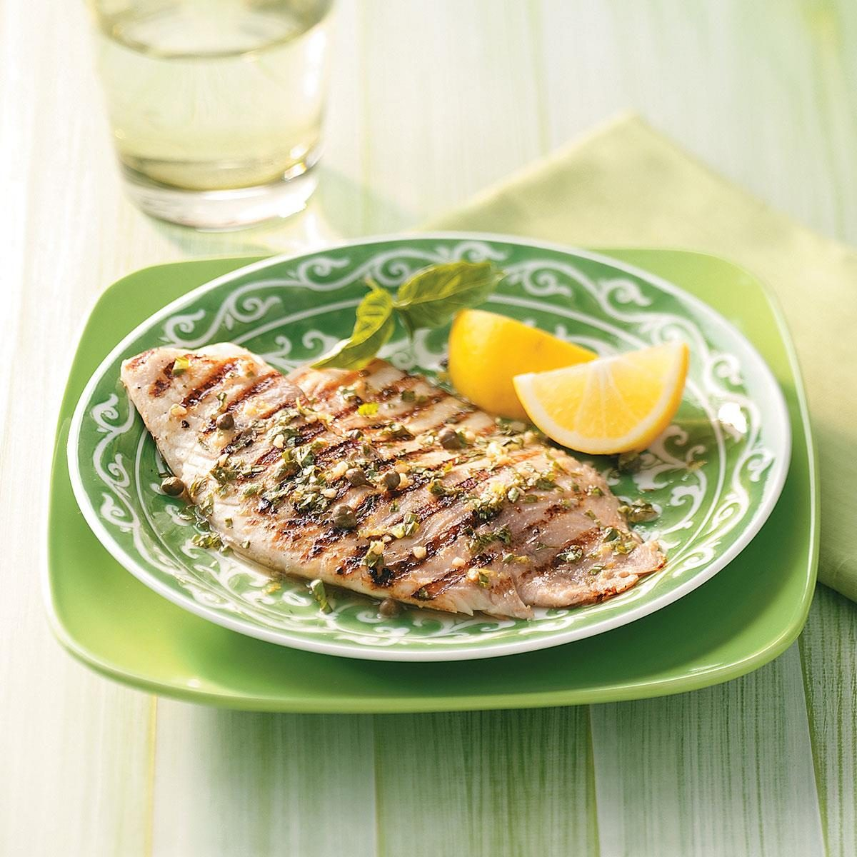 Grilled tilapia piccata for two recipe taste of home for How to cook tilapia fish