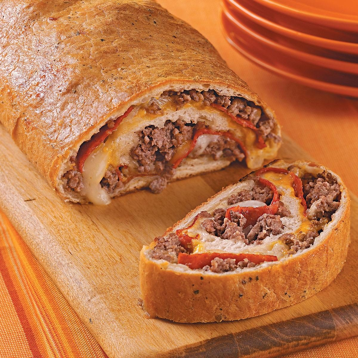 Ground beef and pepperoni stromboli recipe taste of home for What to make with hamburger meat for dinner