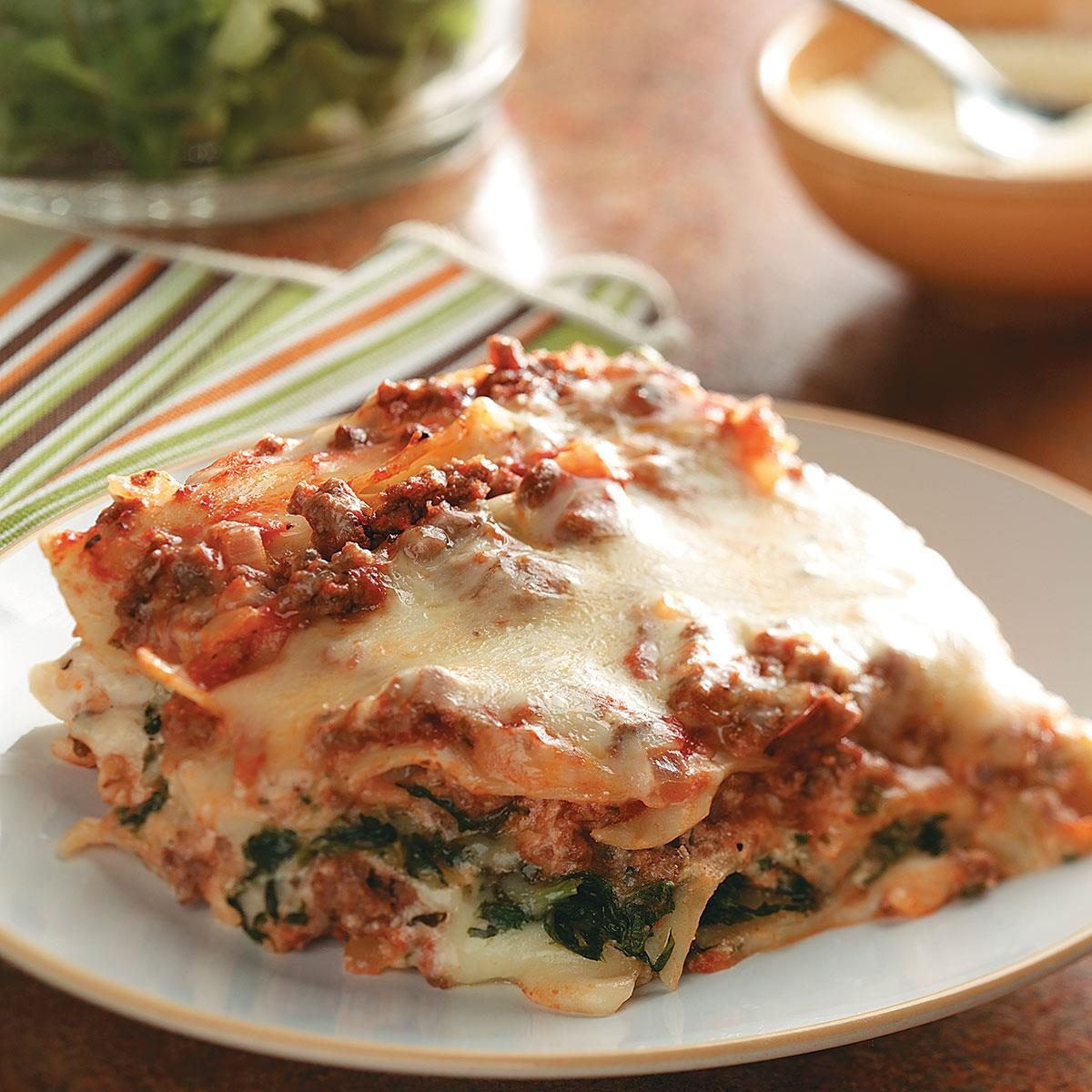 Ground beef spinach alfredo lasagna recipe taste of home for Different kinds of lasagna recipes