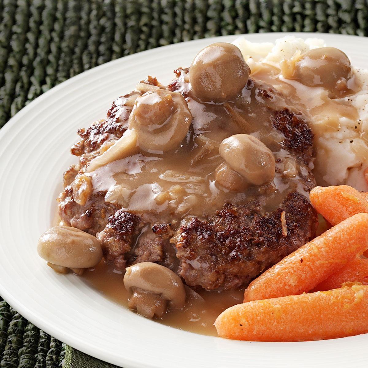 Hamburger Steaks With Mushroom Gravy Recipe