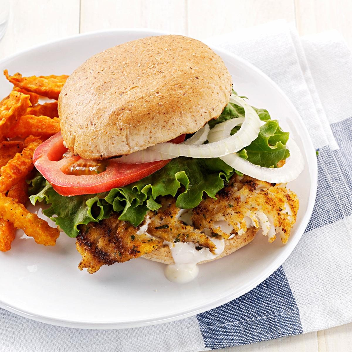 Hearty breaded fish sandwiches recipe taste of home for Food for fish at home