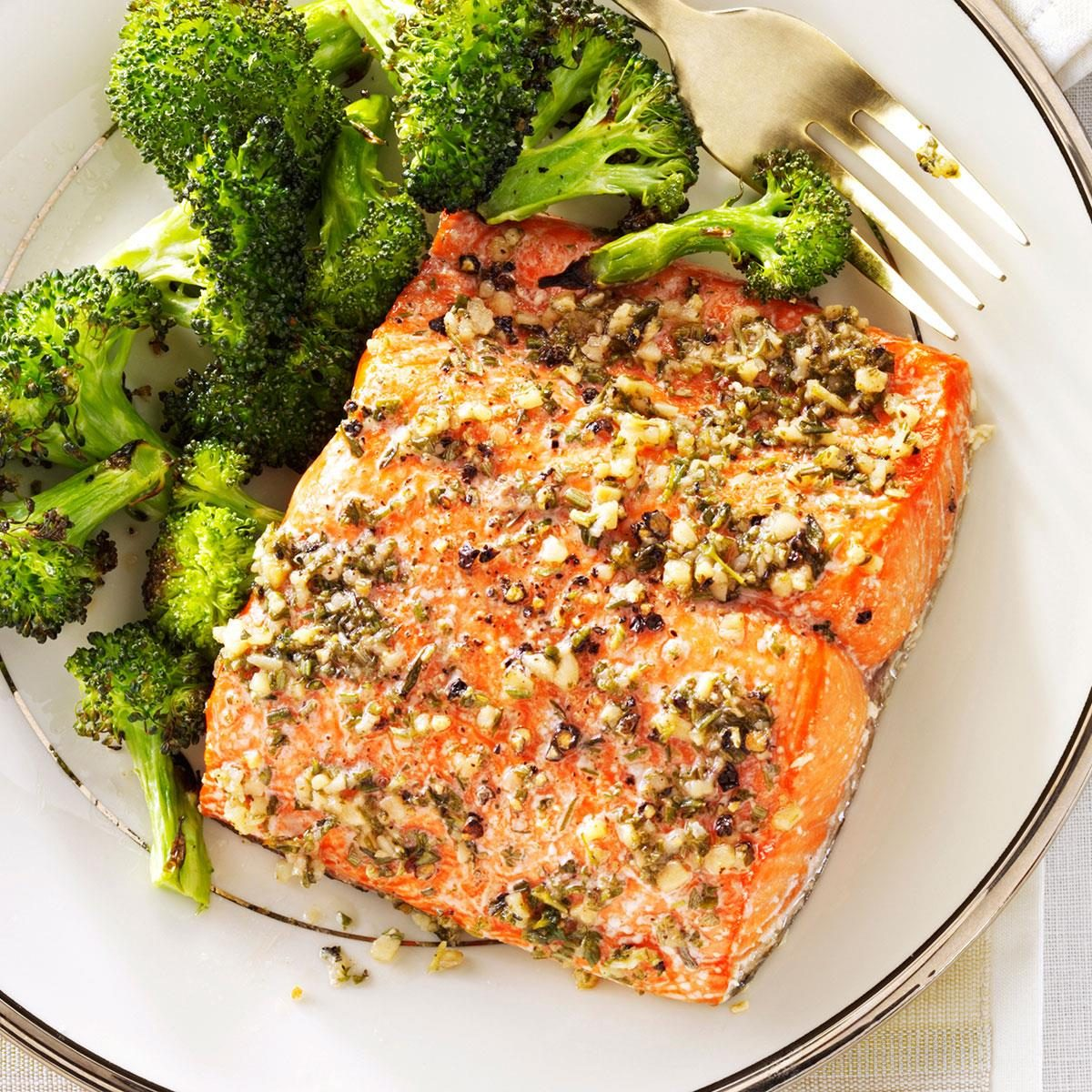 Herb roasted salmon fillets recipe taste of home for How to cook salmon fish