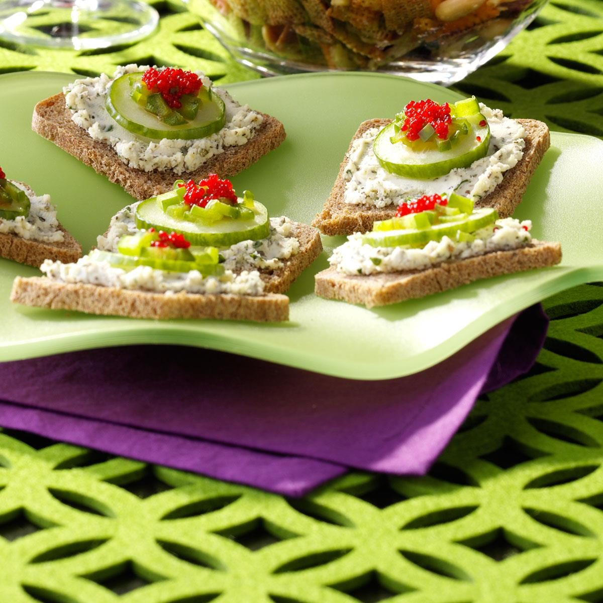 Herbed cheese canapes recipe taste of home for Canape cookbook