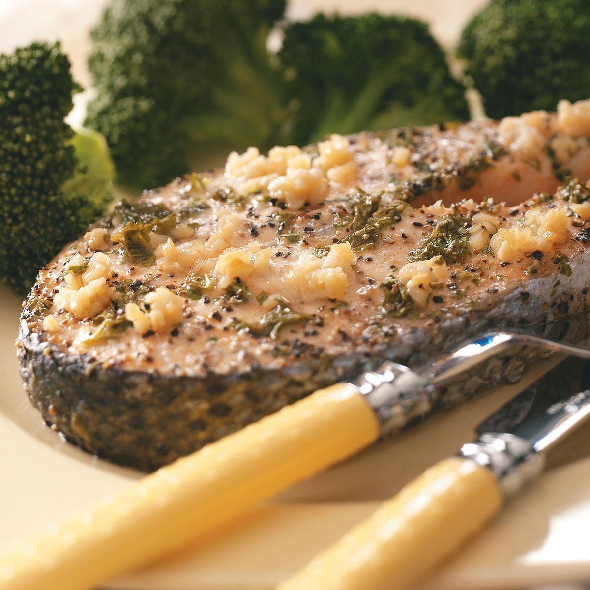 Lemon-Garlic Salmon Steaks Recipe   Taste of Home