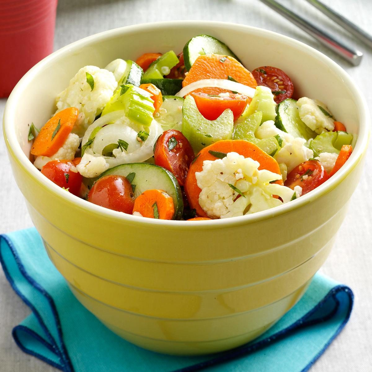 raw vegetable salad with italian dressing