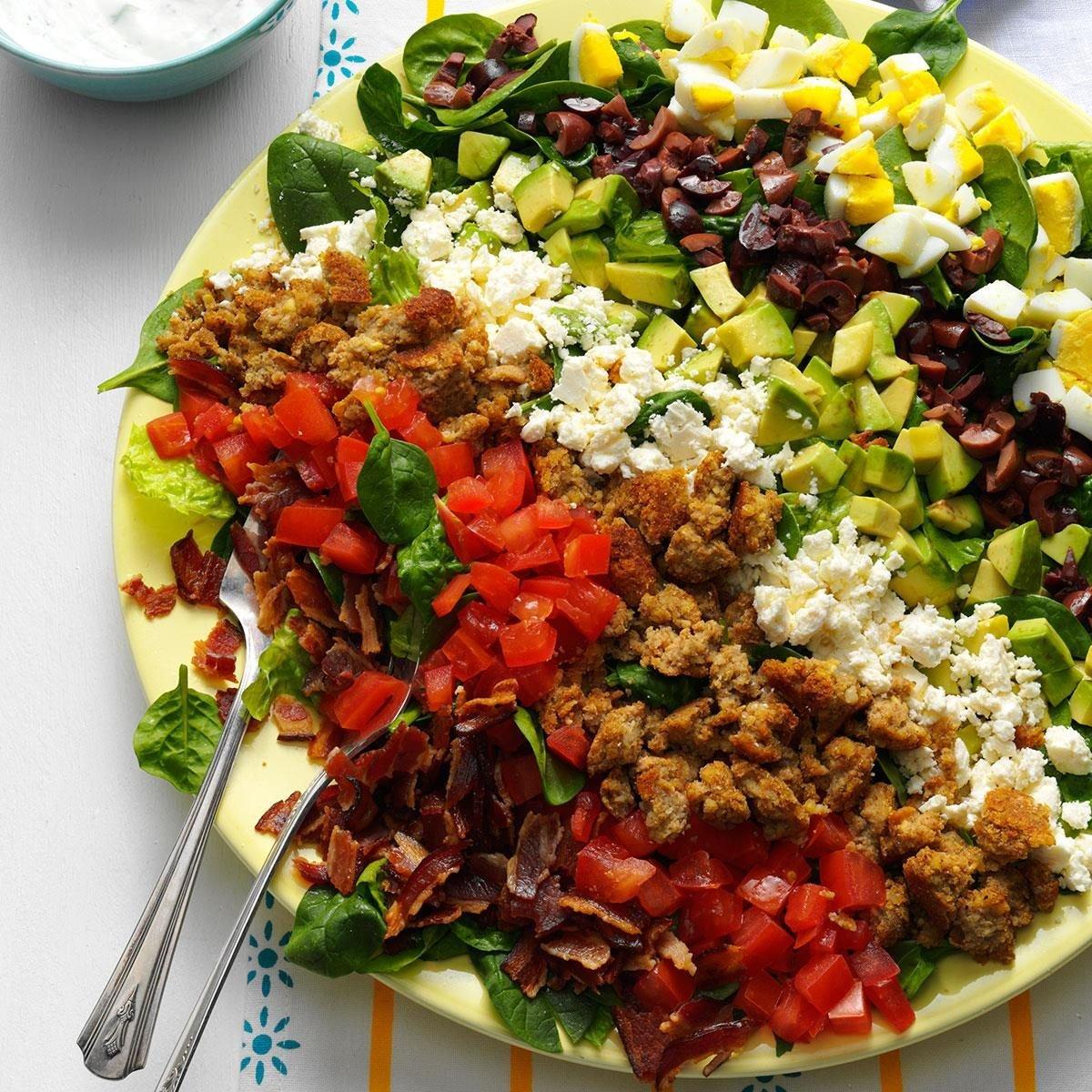 Mediterranean cobb salad recipe taste of home - Healthy greek recipes for dinner mediterranean savour ...