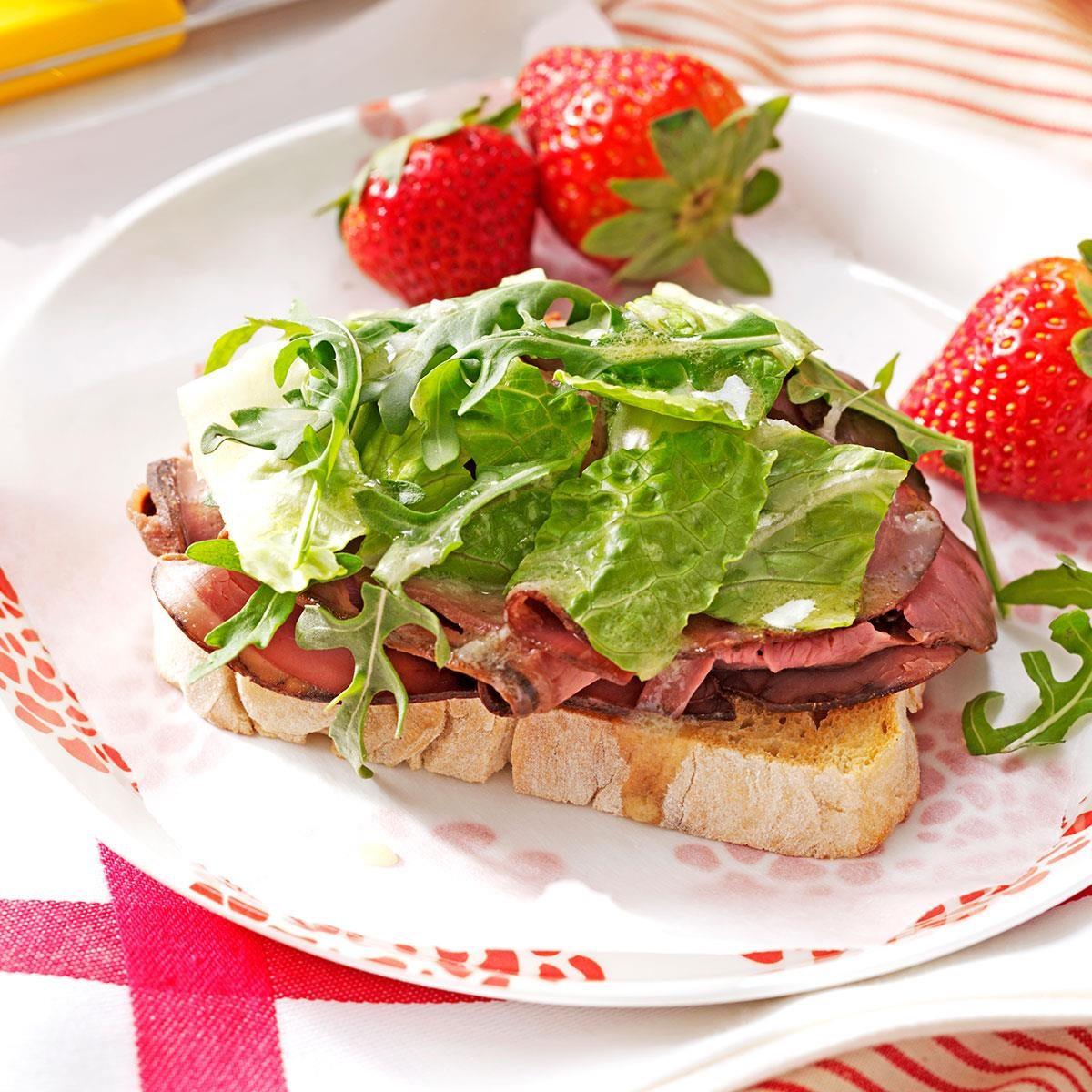 Open Faced Roast Beef Sandwiches Recipe Taste Of Home