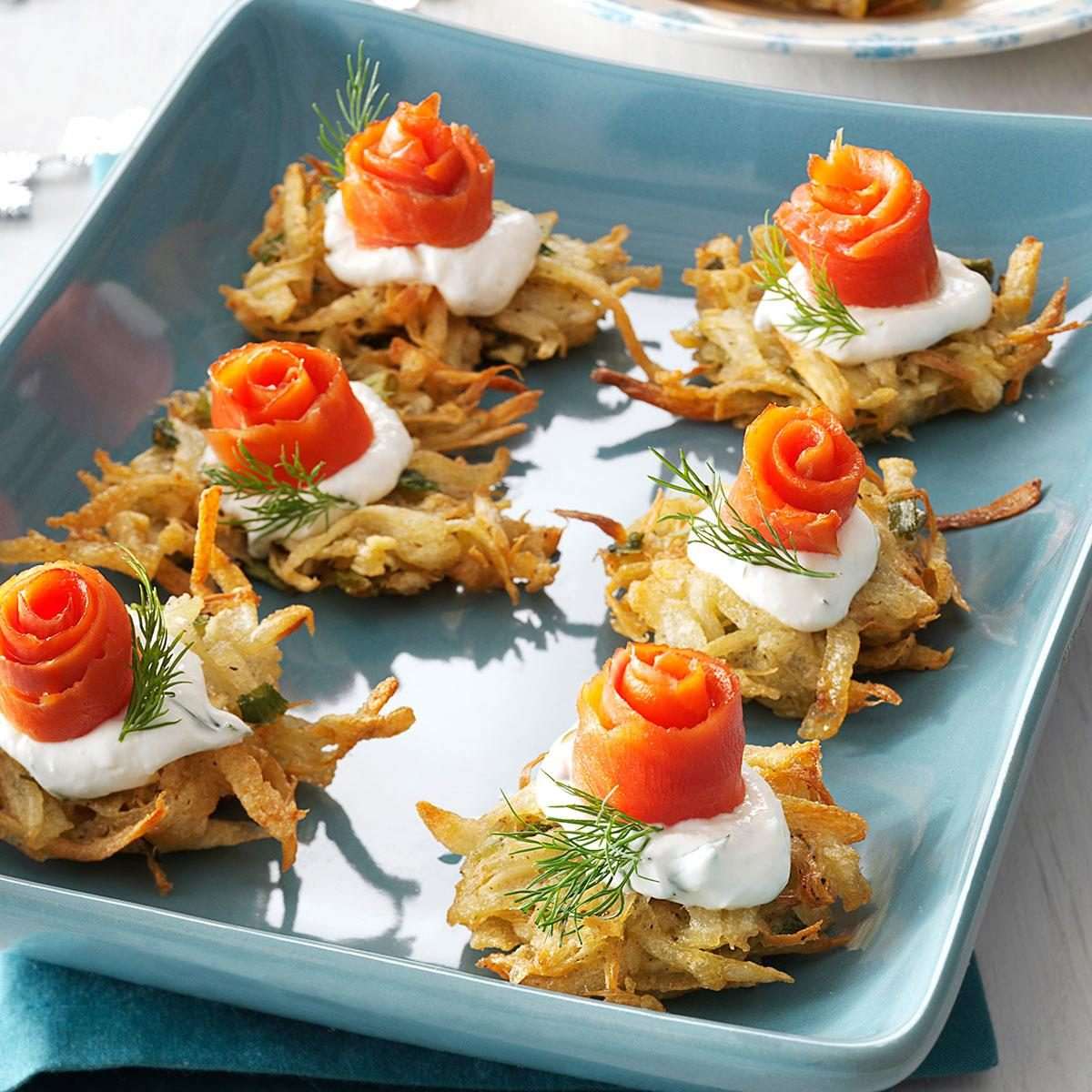 Parsnip Latkes with Lox and Horseradish Creme Recipe | Taste of Home