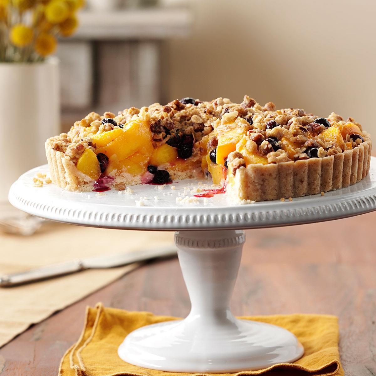 Peach-Blueberry Crumble Tart Recipe | Taste of Home