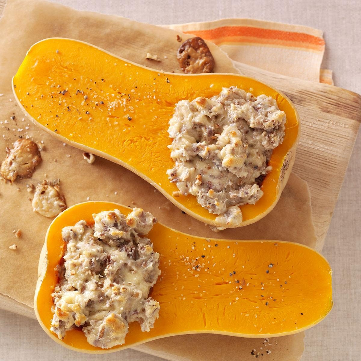Pecan Stuffed Butternut Squash Recipe Taste Of Home
