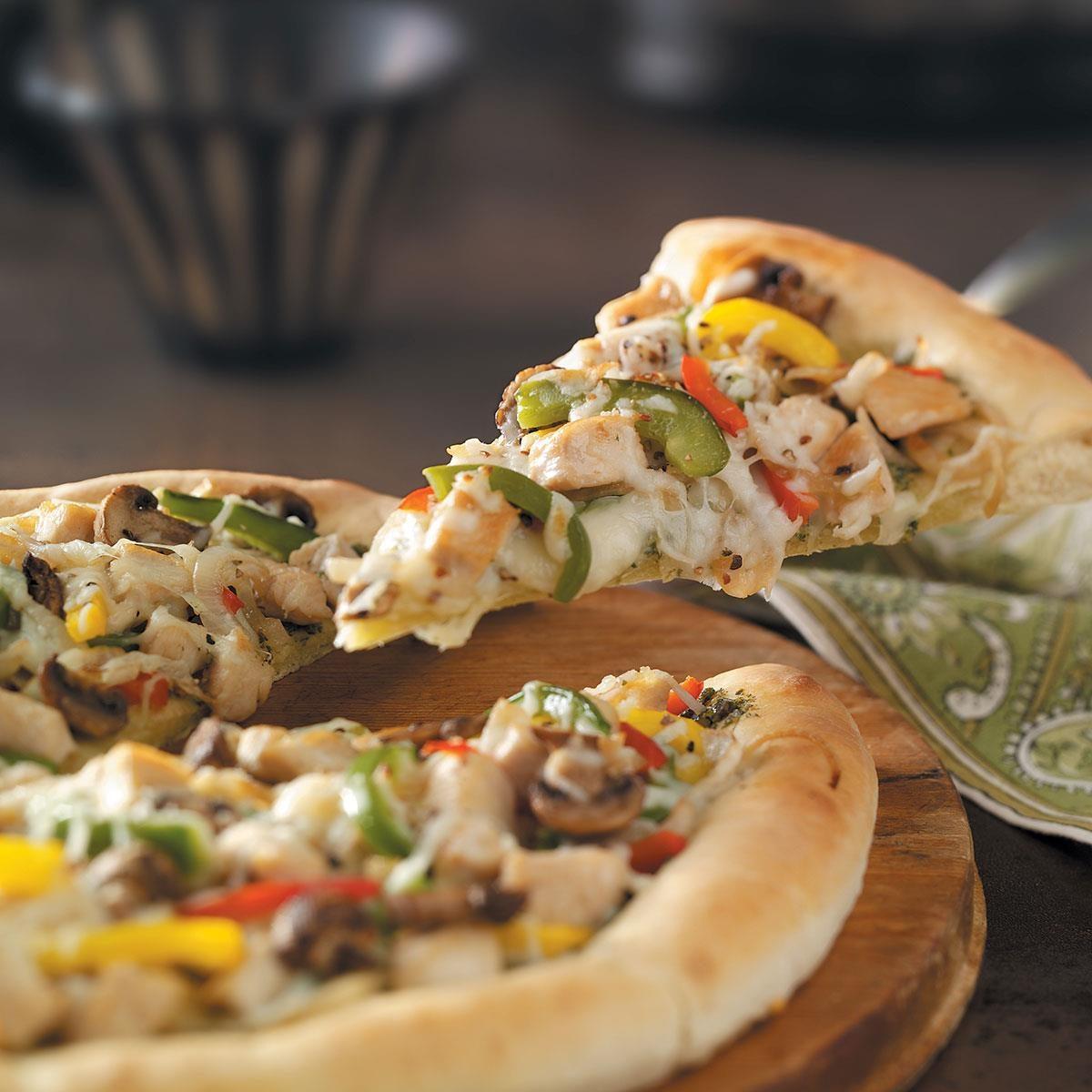 Pesto Chicken Pizza Recipe | Taste of Home
