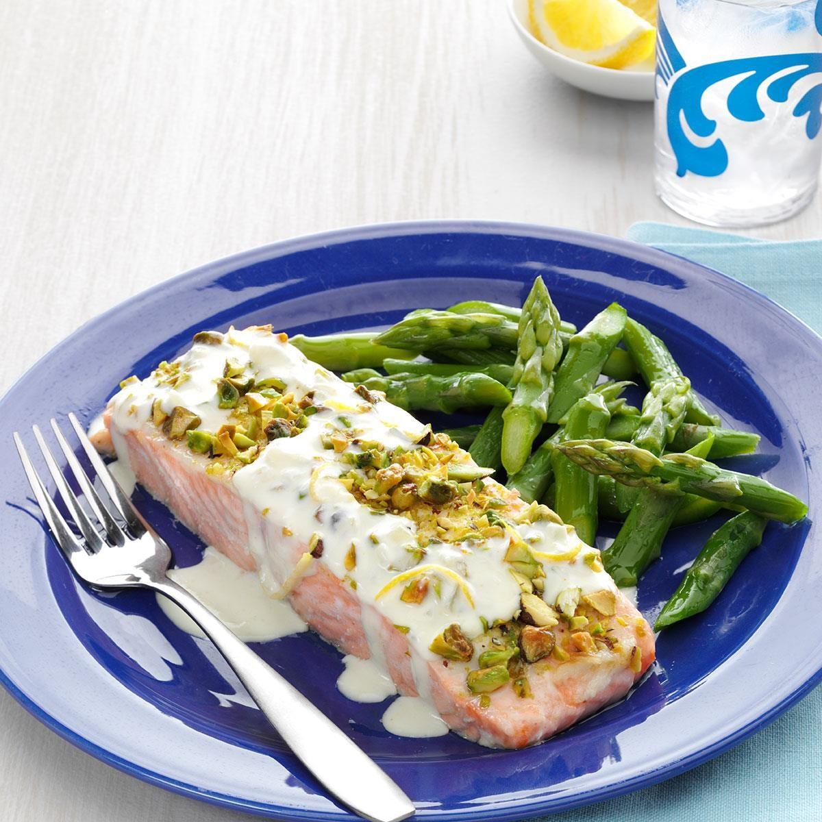 Pistachio-Crusted Salmon with Lemon Cream Sauce Recipe ...