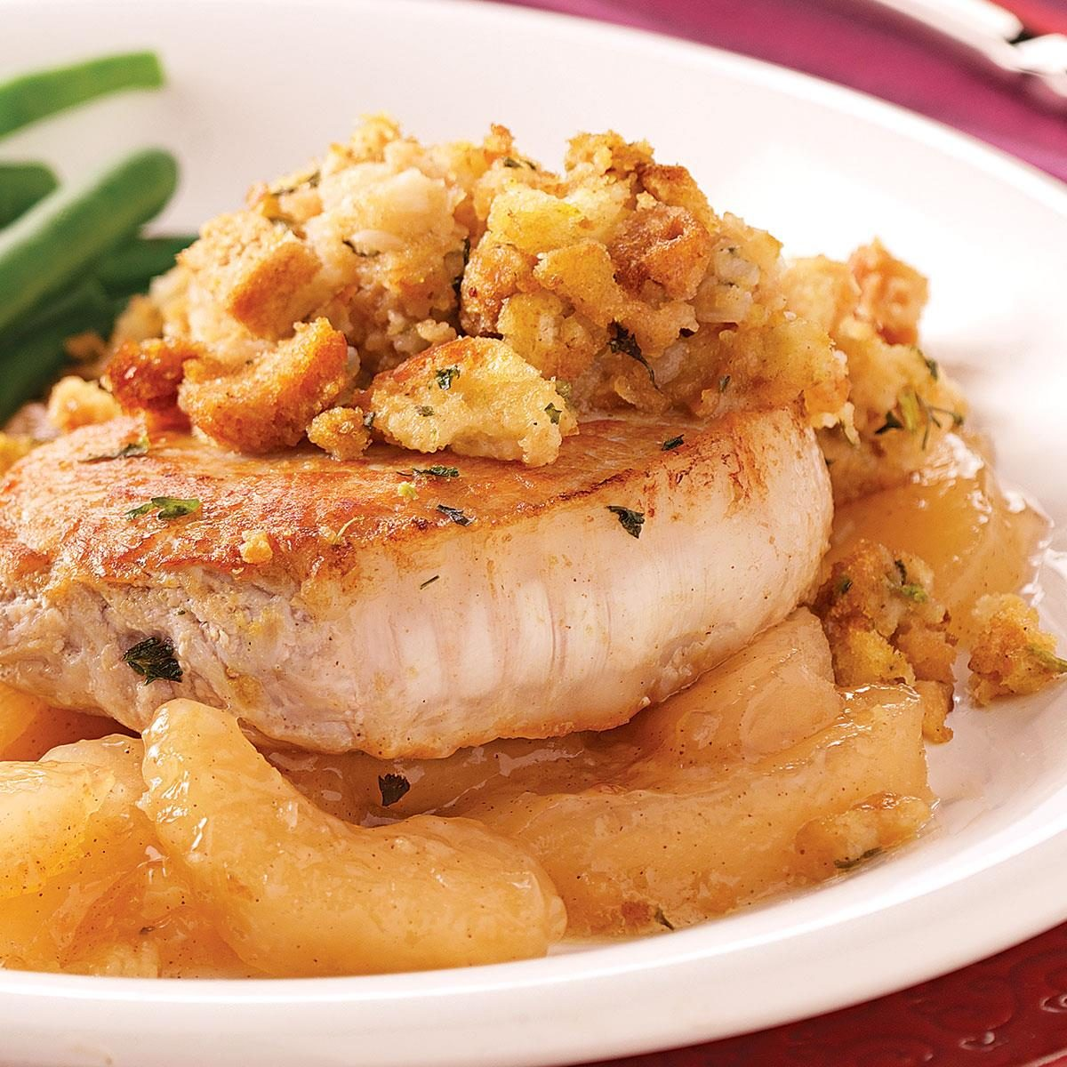 Pork Chops with Apples and Stuffing Recipe | Taste of Home