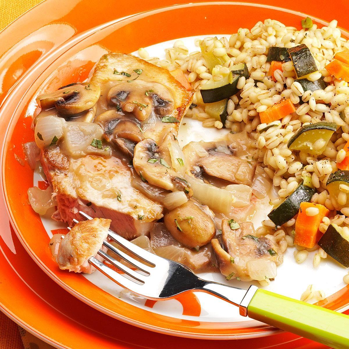 pork chops with mushroom tarragon sauce recipe taste of home