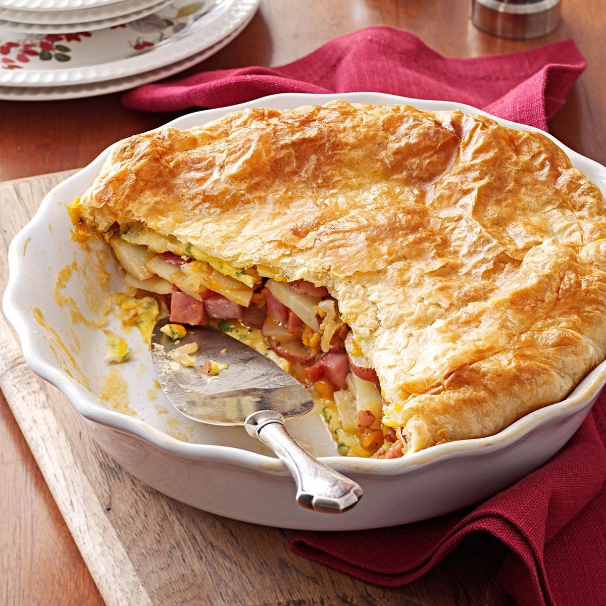 Potato Ham Omelet Pie Recipe