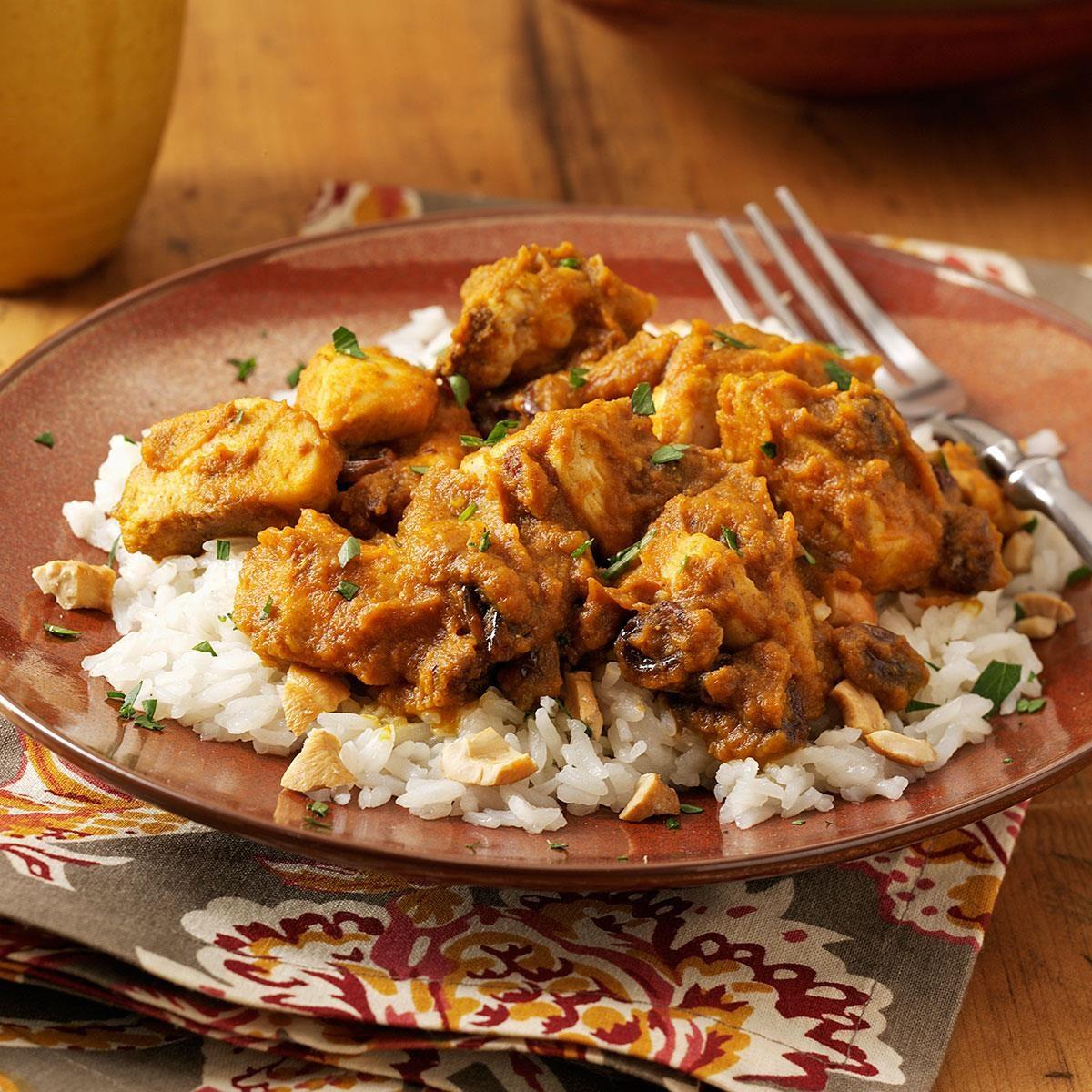 Pumpkin-Curry Chicken Over Cashew Rice Recipe