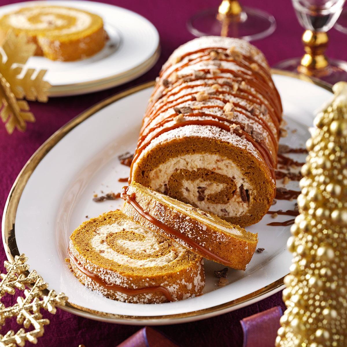 Pumpkin Toffee Cake Roll Recipe Taste Of Home
