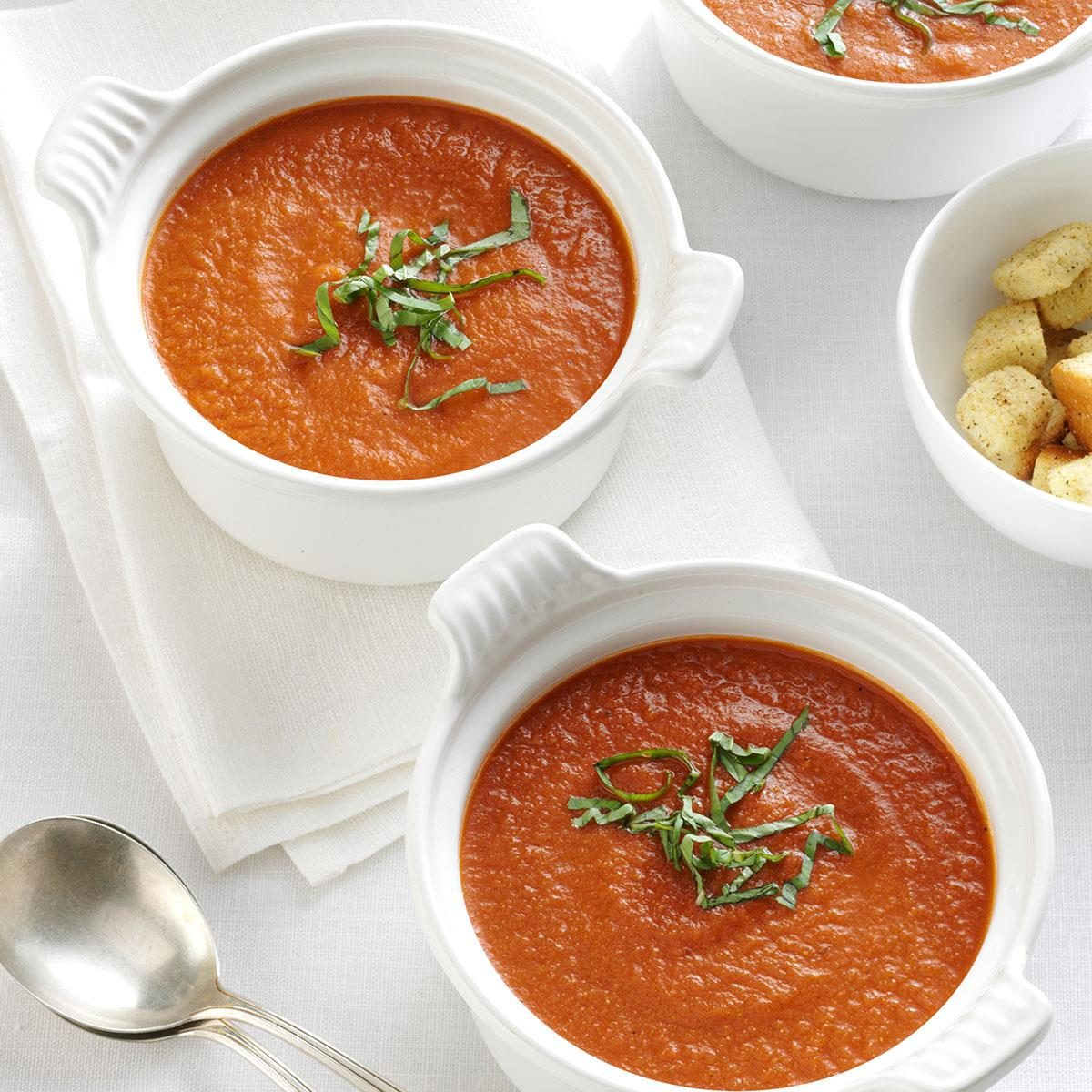 Roasted Tomato Soup with Fresh Basil Recipe | Taste of Home