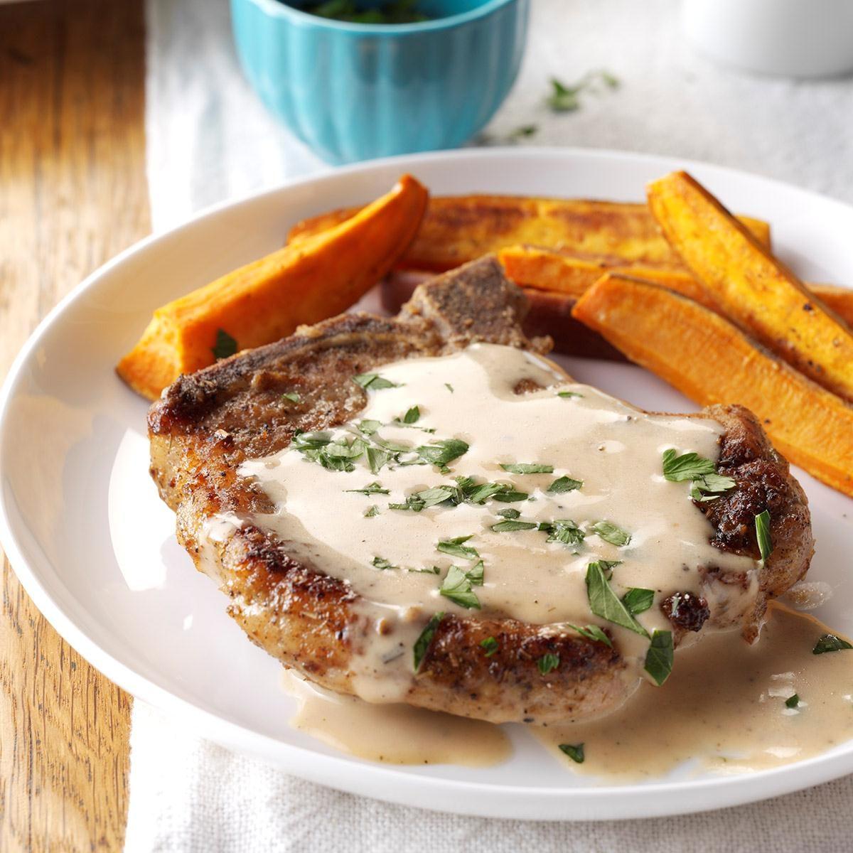 Sage Pork Chops with Cider Pan Gravy Recipe | Taste of Home