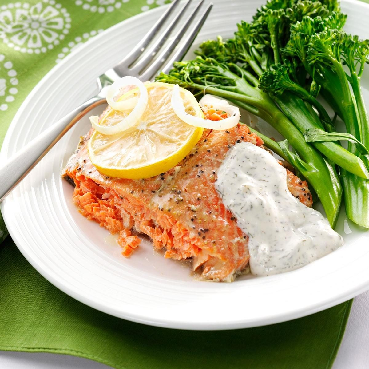 Salmon with creamy dill sauce recipe taste of home for Dill sauce for fish