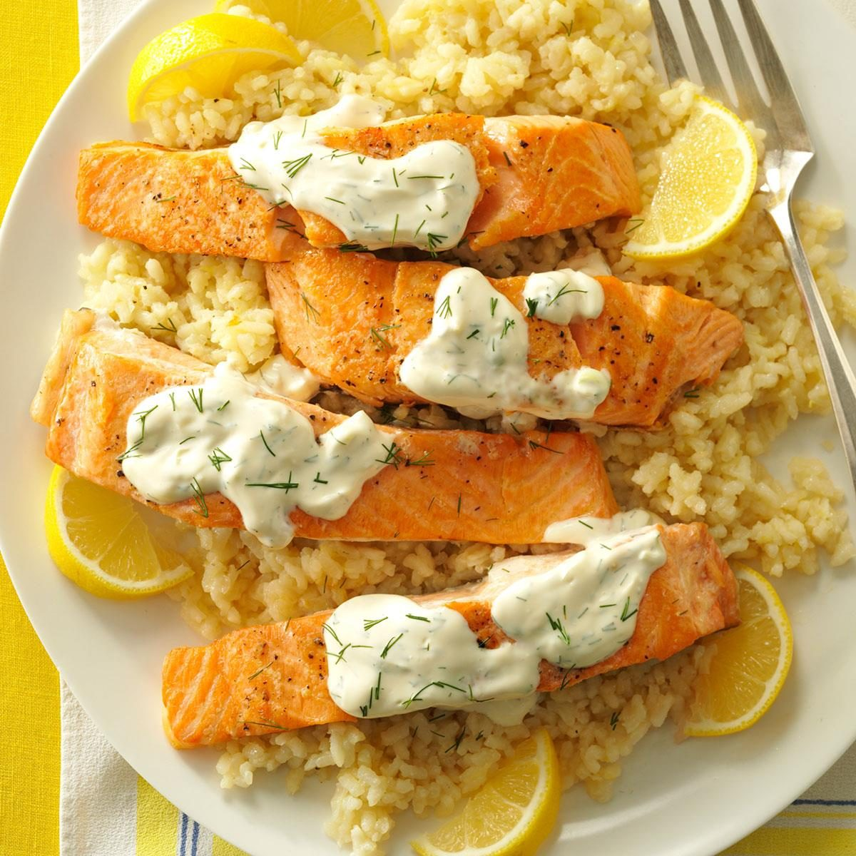 Salmon with dill sauce lemon risotto recipe taste of home ccuart Choice Image