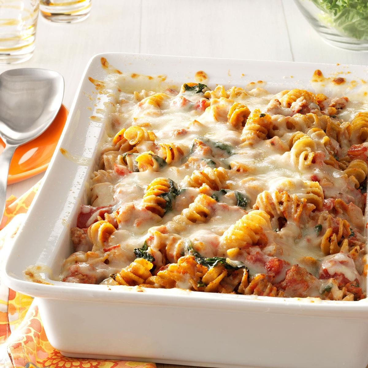 Italian Pasta Bake Recipe: Sausage Spinach Pasta Bake Recipe