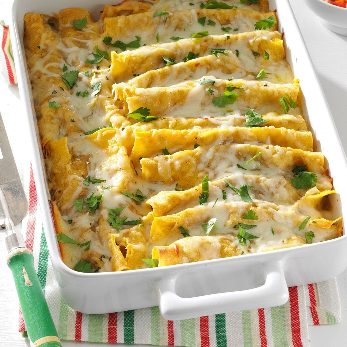 Shrimp Enchiladas with Green Sauce Recipe | Taste of Home